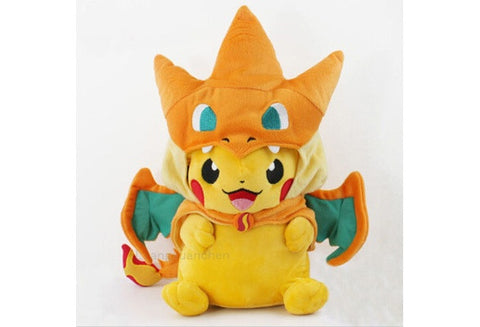 New Pokemon Pikachu With Charizard hat Plush Soft Toy Stuffed Animal Doll (Size: 2) [9325370756]