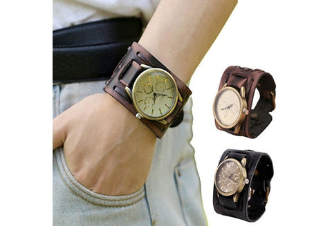 Essential New Style Retro Punk Rock Brown Big Wide Leather Cuff Men Cool Wrist Watches Bangle Relogio Bracelet Women Men Relojes [9325206788]