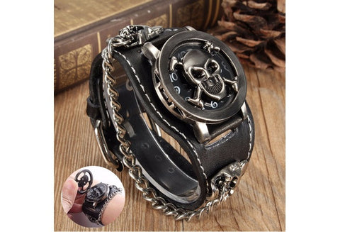 Fashion Punk Rock Retro Chain Skull Leather Watches Wrist Bracelet Unisex Women Men Vintage Gothic Leather Band Gift [9325203012]