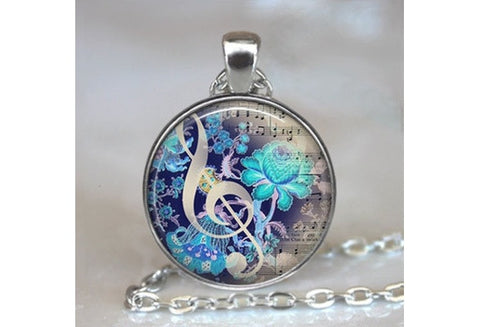 Vintage Music Cabochon Tibetan silver Glass Chain Pendant Necklace [9325223172]