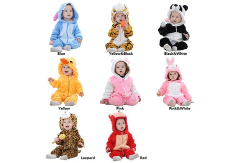 Adorable  Cartoon Animal Design Soft Warm Baby Jumpsuit [9325385604]