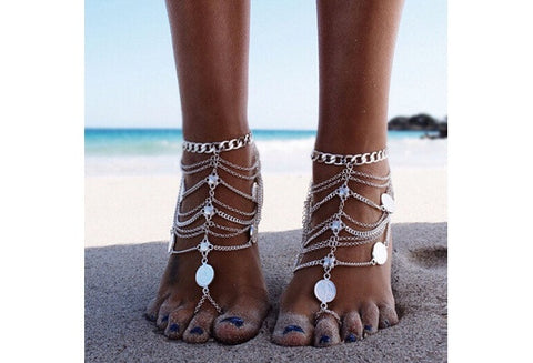ZCM 1PCS Punk Vintage Multilayer Metal Tassel Chain Coin Anklets for Beach Barefoot Chain (Color: Silver) [9326007172]