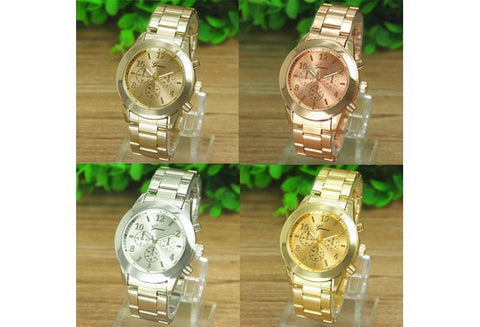 Super Hot New Geneva Ladies Women Girl Unisex Stainless Steel Quartz Wrist Watch Gifts (Color:Gold,Rose Gold,Silver) [9325374788]