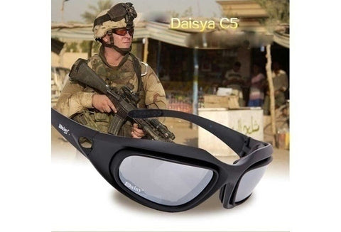polarized Goggles Desert Storm 4 Lens Outdoor UV400 Protection Hunting Military Sunglasses with Case War Game Glasses [9324870020]