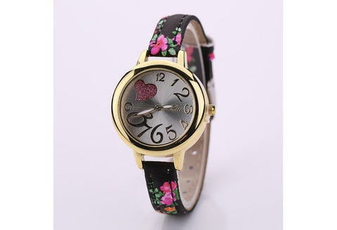 Vintage Flower Quartz Watch Slim Leather Strap Wristwatch Women Ladies Student Birthday Gifts [9325376004]