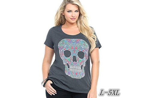Short Sleeves Skull Print T-shirt Plus Size Cotton Gray Tops ZB5272 [9325956100]