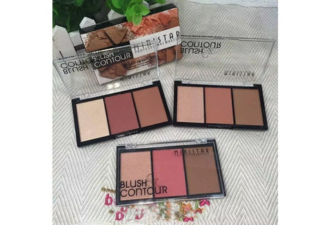 Professional 3 Color Matte Face Contour Blush Powder Palette Highlighter Make Up For Women [9325725636]