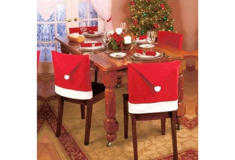 1pcs Santa Red Hat Chair Covers Christmas Decorations Dinner Chair Xmas Cap Cover [9325732484]
