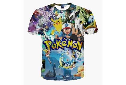 CLASSIC ANIME POKEMON 3D PRINTED T SHIRTS 2016 NEW SUMMER FASHION SHORT SLEEVE CASUAL COTTON WOMEN MEN TEE SHIRTS TOPS S-XXL [9324881412]