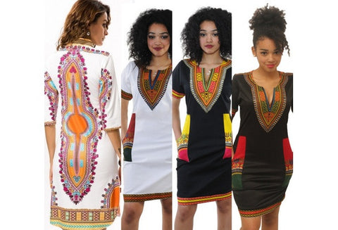 Women's  Dashiki  Dress African Folk Print 3/4 Sleeve African  Bodycon Dress [9325856004]