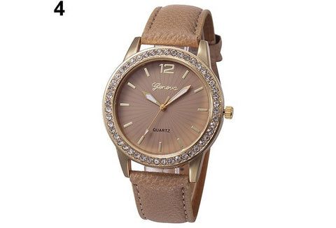 Ladies Rhinestone Faux Leather Analog Quartz Dress Wrist Watch [9325199236]