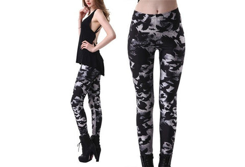 2016 New Autumn Unique Punk Printing Crow Black Sexy Slim Elastic Leggings: S M L XL XXL 3XL 4XL [9325205508]