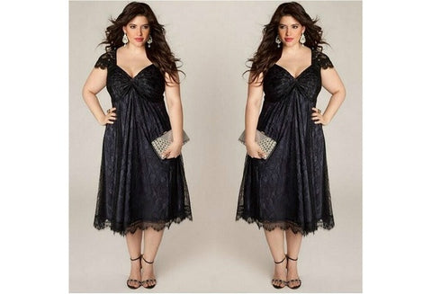 Women's Plus Size Sweet Lace Dress Fashion Summer Sexy V Neck Elegant Dress [9324878916]