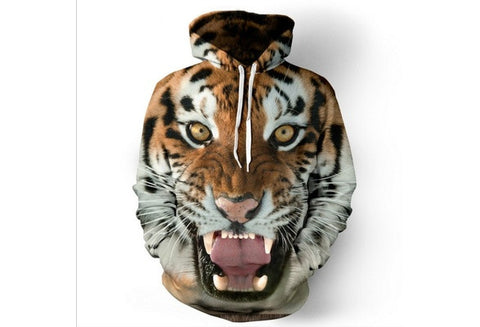 Tiger 3D Digital Printing Cap All-match Casual Hoodies Sweater [9325957508]