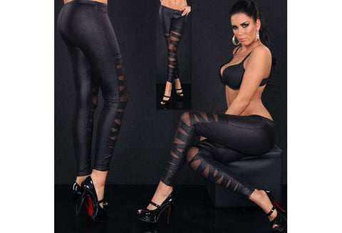 Women European and American fashion leather cross bundled perspective mesh leggings [9325213380]