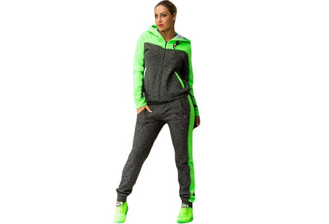 2016 Hot Sale Casual Plus Size Two-piece Suit Long Sleeve Zipper Hooded Tops Slim Long Pants Green/Pink (S-2XL) [9324881476]