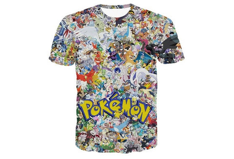 Pokemon Pikachu Eevee Collage 3D Print Shirt Man Woman Short Tee Top T-shirt [9325860676]