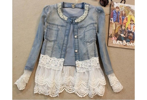Women Casual Denim Jacket Lace Long Sleeve Jacket Coat [9325861828]