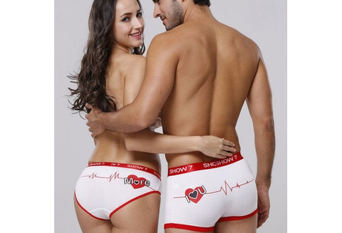 Sexy Couple Underwear Brand Design Heart Printed Bamboo Fiber Breathable Elastic Waist Men Boxer Short Women Brief Panties [9325960388]