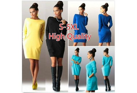 Large Size New Temperament Slim Package Hip Dress Long Sleeved Dress [9325954692]