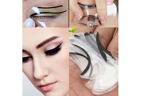 Women Smoky Eyes Models Template Draw Eye Bottom and Top Eyeliner Guide Card Auxiliary Tools 2pcs (Color: White) [9325743620]