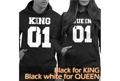 2016 Couple Matching Hoodies King 01 and Queen 01 Back Print Cute Hooded Sweatshirts [9324247428]