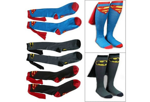 Unisex Super Hero Superman Batman Knee High With Cape Soccer Cosplay Socks New [9324869380]