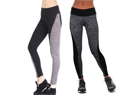 New Women Fashion Black And Gray Paneled Plus Slimming Pants Leggings For Running/Yoga/Sport HNK [9325211524]