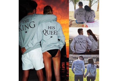 Fashion Men Women Grey King Queen Letter Print Long Sleeve T-Shirt Top Blouse Shirt Couple Hoddies Best Sale [9324873860]