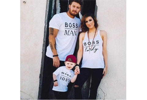 2016 New Family Boss Letter Print Shirt Cotton Tshirt Mother and Daughter Father Son Clothes Matching Shirt Kid Shirt Suitable for 2-16years Old [9325861700]
