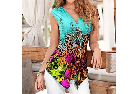 V-neck Cotton T-shirt Printing Irregular Sleeveless Tank Top Fashion Summer Tops [9325854852]