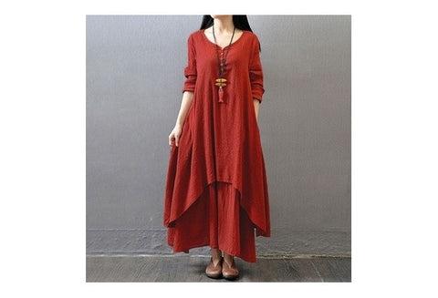 Vintage Women Double Layers Long Spring Fall Loose Maternity Tops Maxi Tunic Dress [9325955460]