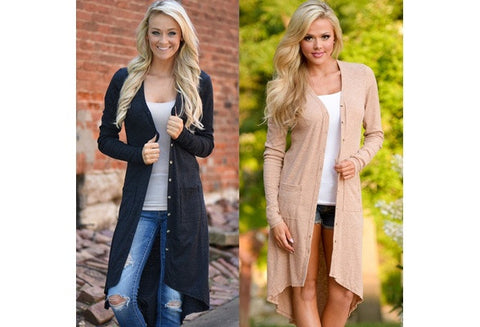 Women Cardigan Loose Sweater Long Sleeve Knitted Cardigan Outwear Jacket Coat [9325858820]
