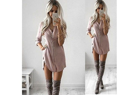 Women Buttons Vneck Sexy Long Shirt Fashion Split Long Sleeved Casual Tops Blouse [9324876484]