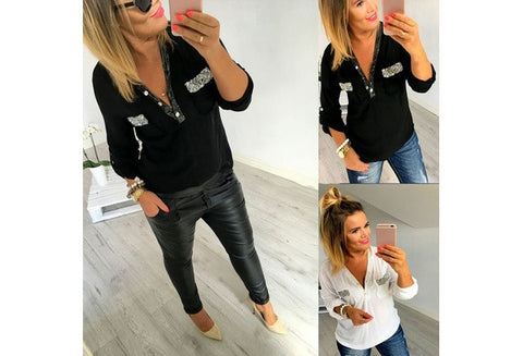 2 Color Fashion Casual Women's Shirts Long Sleeve V-Neck Chiffon Blouse  [9325954372]