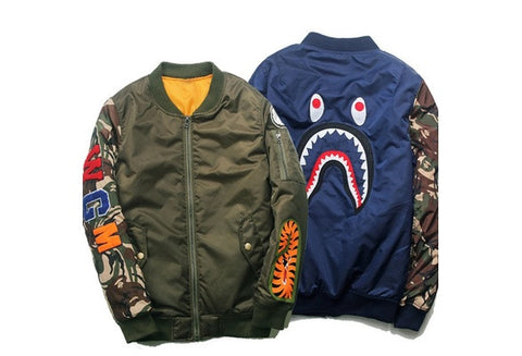 New Fashion Men's Shark Head Male Causal Jacket Flight Zip Coat Outwear [9325865156]