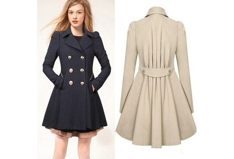 Women New Fashion Lapel Wind Coat Button Casual Coat [9325864580]