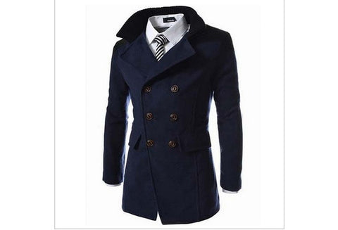 2016 New Men Long Casual Trench Coat Double-Breasted Woolen Slim Jacket Winter Outerwear ( Black Grey Blue ) [9324880004]