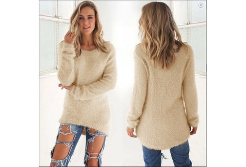 Autumn Long Sleeve O-neck  Sweater Dress [9325954628]
