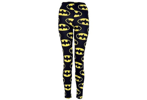 "New Fashion Women Clothing ""Batman"" Print Black Yellow Leggings Yoga Leggings  [9325956932]"