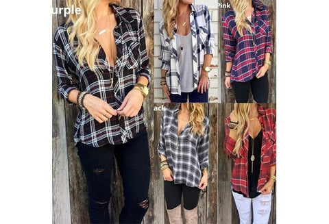 5 Colors 2016 Women's Fashion Tops Blouse  Plaid Shirt Tee Shirts Long Sleeve Blouse Size :S-XXL [9325862660]
