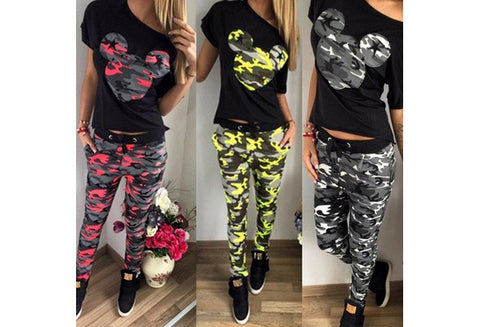 Women Clothing Set Flower Floral Print Mikey print Short Sleeve T Shirt Tops& Pants Trousers Spring Summer Suit Set [9714857487]