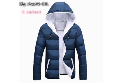 High Quality 2016 New Winter Jacket Men / Women Warm Down Jacket Fashion Men's Hooded Overcoat Wadded Slim Thickening Keep Lovers Casual Coat (Multi-color / Black Red Blue) [9714855951]