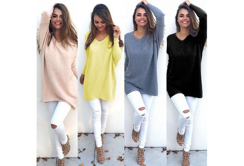 New Casual Loose Long Sleeve Sweater Women V-neck Knitwear Pullover Jumper Tops [9714855183]