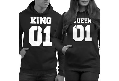 King and Queen Couple Long Sleeve Hooded or Prince Princess Children Short Sleeve Shirts Letter Printing Couple Tops Hip-hop Couple Hoodies Coat [9714859983]