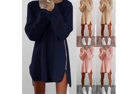 New Women Fashion Cotton Casual Loose Zipper Sweater Dress [9714859023]
