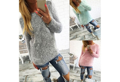 Women Casual Knitwear  Autumn Winter O-Neck Full Regular Pullovers Sweater( 13 Colors 4 Size) [9714856399]