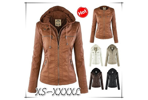 New Arrival Plus Size Women Fashion Autumn Winter Coat Jacket Long Sleeve Zipper New Women's Stylish Slim Removable Hooded Leather Jackets Coat Ladies Tops Motorcycle Coat Outerwear [9714858959]