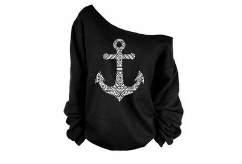Women Autumn Long Sleeve Off Shoulder Pure Color Boat Anchor Printed Hoodies Pullover Baggy Outwear Top [9714855311]