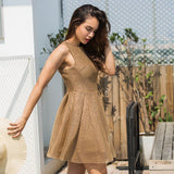 Round-neck Sleeveless Stylish One Piece Dress [519714177039]